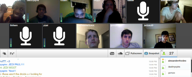 Screenshot of a TinyChat Conference for NoFap